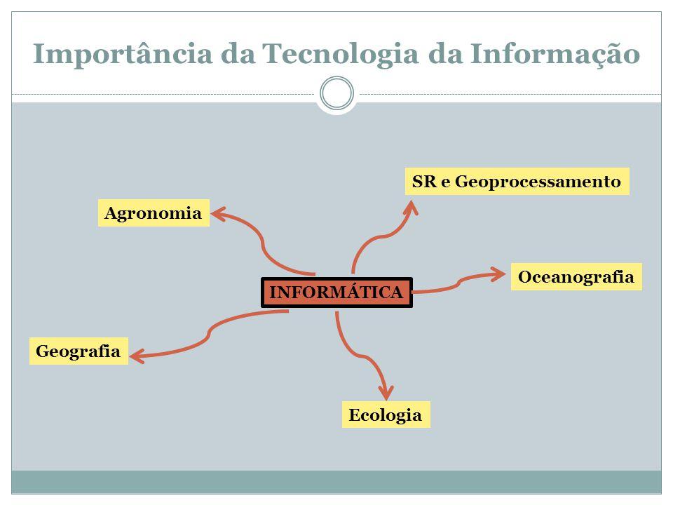 Importância da Tecnologia da Informação INFORMÁTICA Agronomia Geografia Ecologia Oceanografia SR e Geoprocessamento