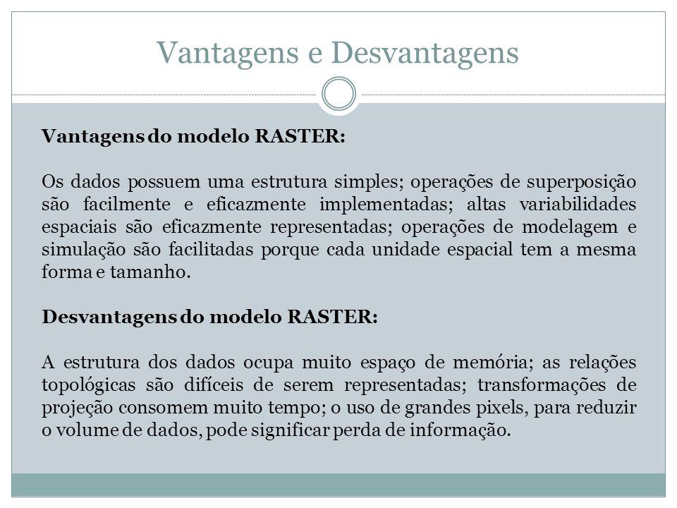 Vantagens e Desvantagens Vantagens do modelo RASTER: Os dados possuem uma estrutura simples; operações de superposição são facilmente e eficazmente im