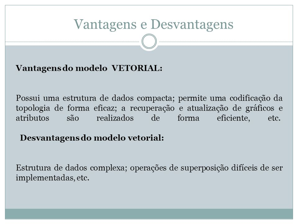 Vantagens e Desvantagens Vantagens do modelo VETORIAL: Possui uma estrutura de dados compacta; permite uma codificação da topologia de forma eficaz; a