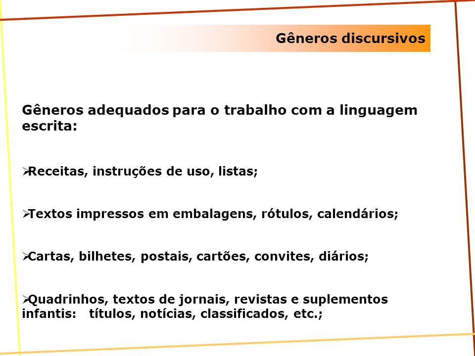 Gêneros discursivos Gêneros adequados para o trabalho com a linguagem escrita: Receitas, instruções de uso, listas; Textos impressos em embalagens, ró