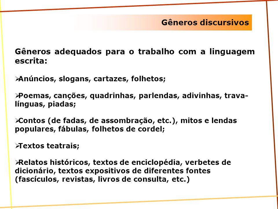 Gêneros discursivos Gêneros adequados para o trabalho com a linguagem escrita: Anúncios, slogans, cartazes, folhetos; Poemas, canções, quadrinhas, par