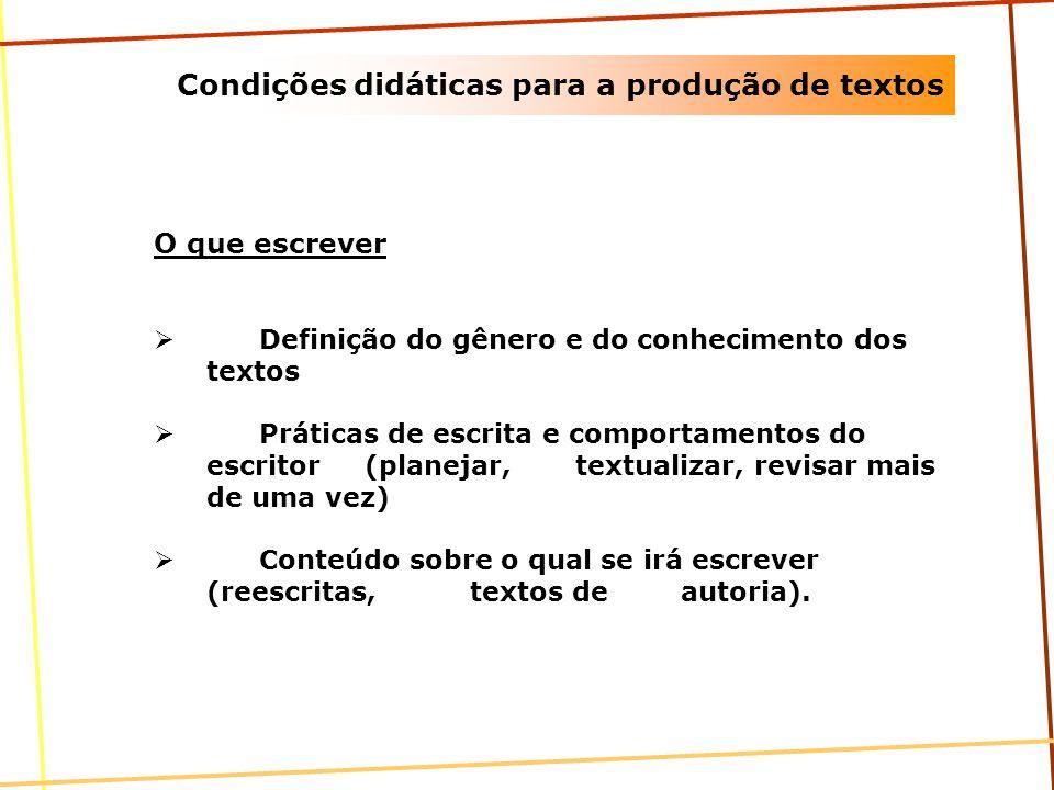 Condições didáticas para a produção de textos Para que escrever Presença da função comunicativa Problema real do escritor Para quem escrever Destinatário Real Revisão
