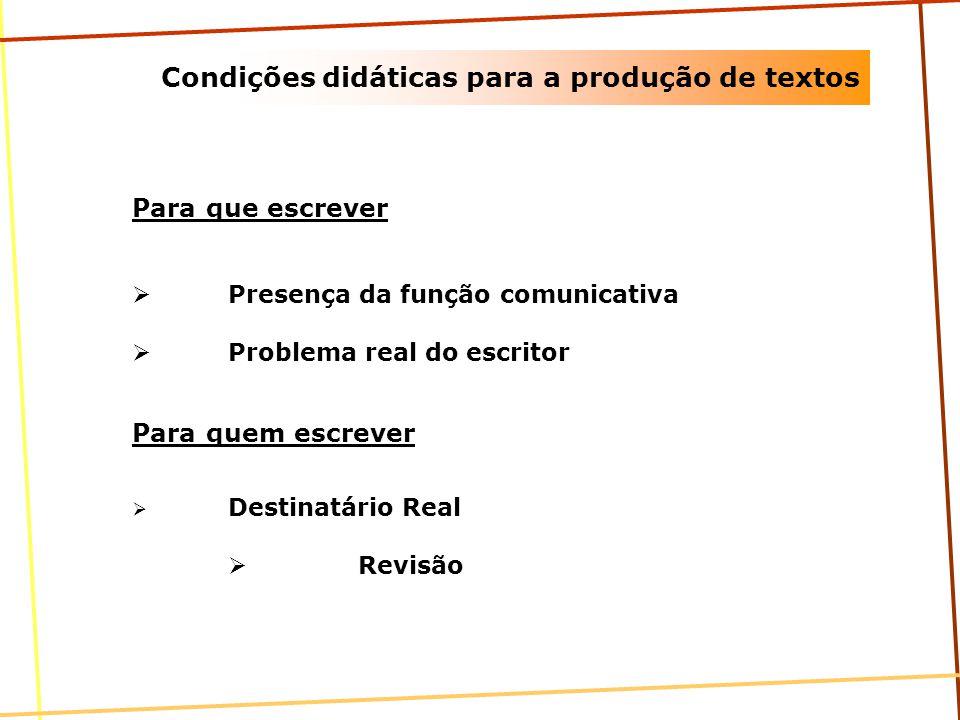 Condições didáticas para a produção de textos Para que escrever Presença da função comunicativa Problema real do escritor Para quem escrever Destinatá
