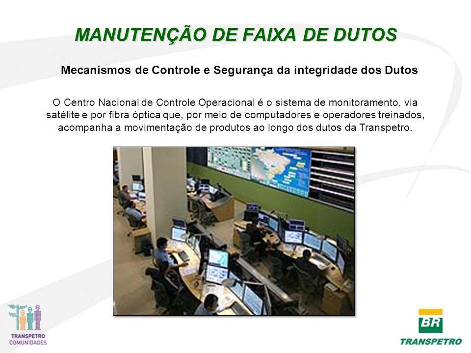 MANUTENÇÃO DE FAIXA DE DUTOS O Centro Nacional de Controle Operacional é o sistema de monitoramento, via satélite e por fibra óptica que, por meio de computadores e operadores treinados, acompanha a movimentação de produtos ao longo dos dutos da Transpetro.