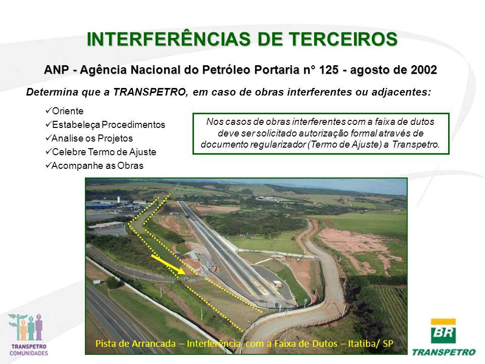ANP - Agência Nacional do Petróleo Portaria n° 125 - agosto de 2002 Determina que a TRANSPETRO, em caso de obras interferentes ou adjacentes: Oriente