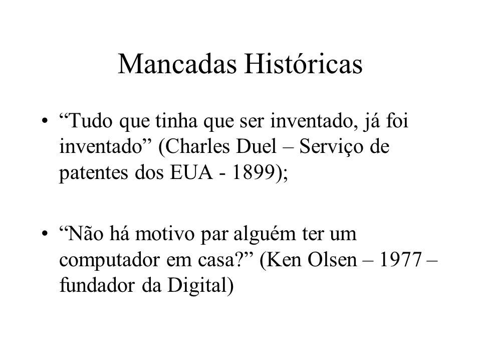Mancadas Históricas Tudo que tinha que ser inventado, já foi inventado (Charles Duel – Serviço de patentes dos EUA - 1899); Não há motivo par alguém t