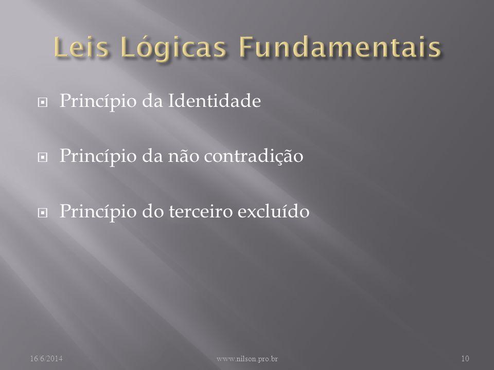 Princípio da Identidade Princípio da não contradição Princípio do terceiro excluído 16/6/2014www.nilson.pro.br10