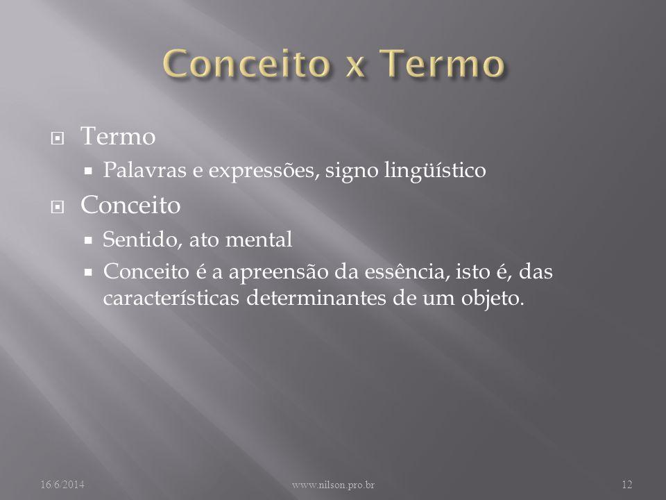 Termo Palavras e expressões, signo lingüístico Conceito Sentido, ato mental Conceito é a apreensão da essência, isto é, das características determinantes de um objeto.