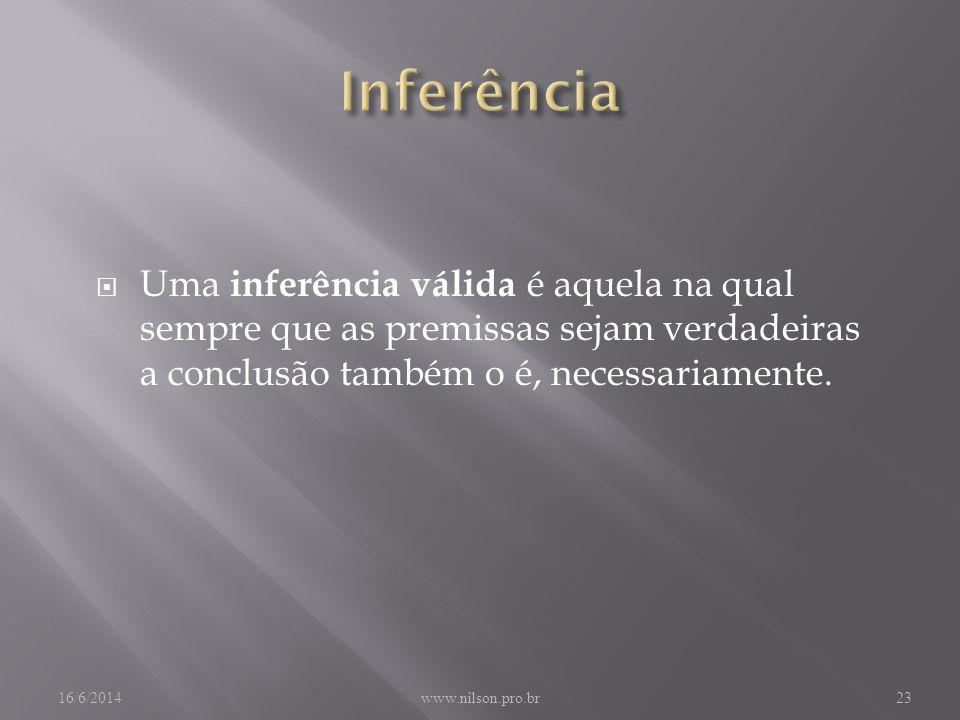 Uma inferência válida é aquela na qual sempre que as premissas sejam verdadeiras a conclusão também o é, necessariamente.