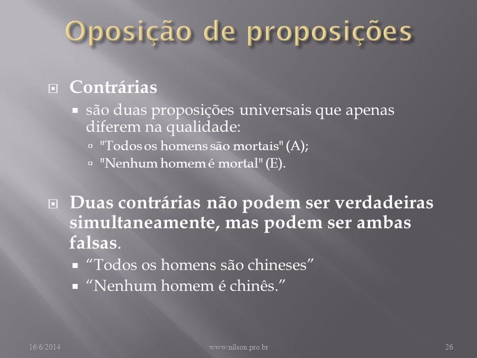 Contrárias são duas proposições universais que apenas diferem na qualidade: Todos os homens são mortais (A); Nenhum homem é mortal (E).
