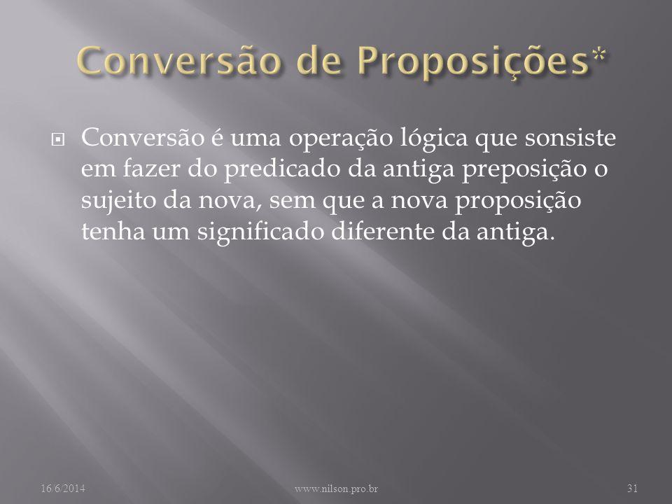 Conversão é uma operação lógica que sonsiste em fazer do predicado da antiga preposição o sujeito da nova, sem que a nova proposição tenha um significado diferente da antiga.