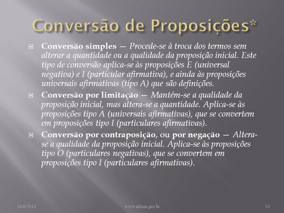 Conversão simples Procede-se à troca dos termos sem alterar a quantidade ou a qualidade da proposição inicial.