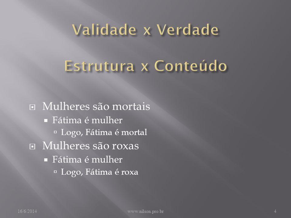 Mulheres são mortais Fátima é mulher Logo, Fátima é mortal Mulheres são roxas Fátima é mulher Logo, Fátima é roxa 16/6/2014www.nilson.pro.br4