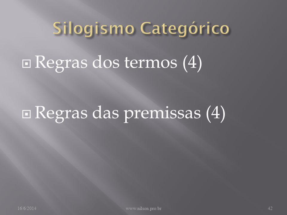 Regras dos termos (4) Regras das premissas (4) 16/6/2014www.nilson.pro.br42