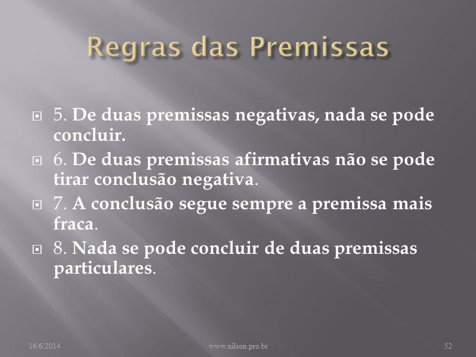 5.De duas premissas negativas, nada se pode concluir.
