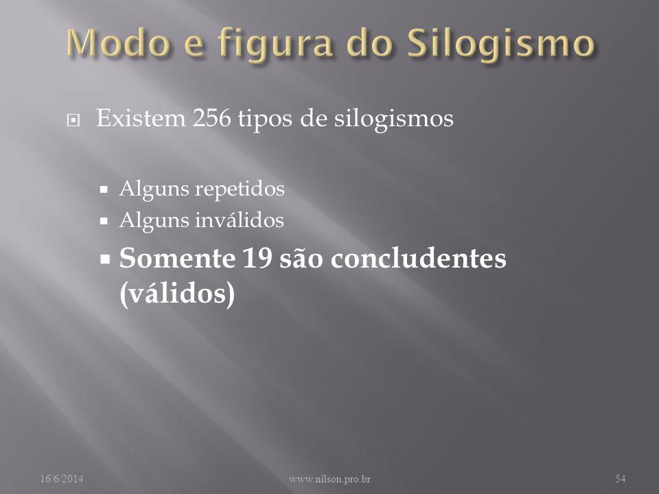 Existem 256 tipos de silogismos Alguns repetidos Alguns inválidos Somente 19 são concludentes (válidos) 16/6/2014www.nilson.pro.br54