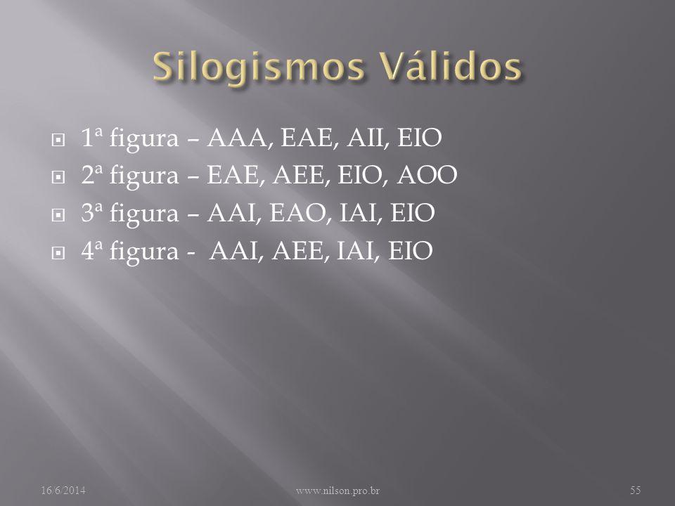1ª figura – AAA, EAE, AII, EIO 2ª figura – EAE, AEE, EIO, AOO 3ª figura – AAI, EAO, IAI, EIO 4ª figura - AAI, AEE, IAI, EIO 16/6/2014www.nilson.pro.br55