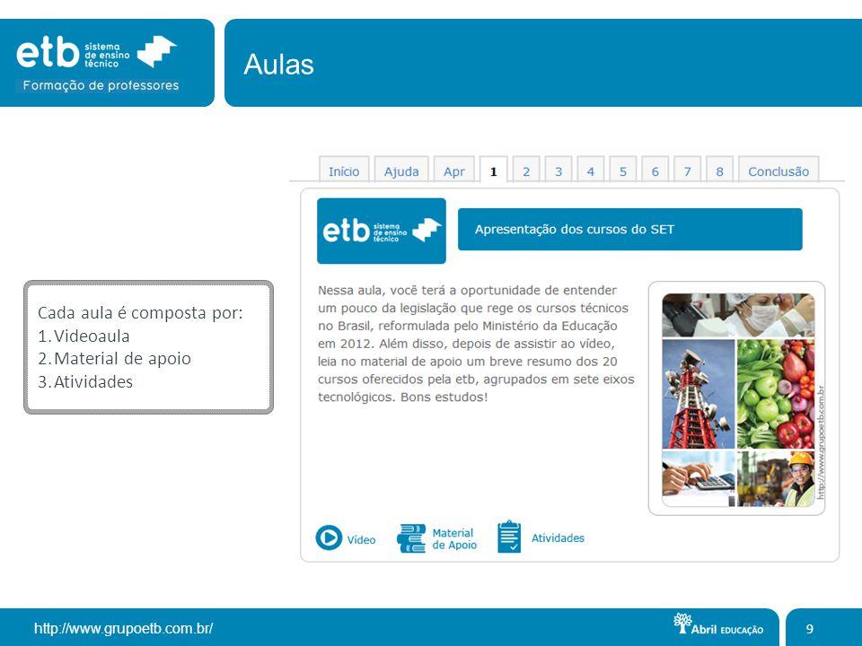 http://www.grupoetb.com.br/ Cada aula é composta por: 1.Videoaula 2.Material de apoio 3.Atividades 9 Aulas