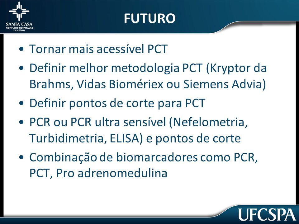 FUTURO Tornar mais acessível PCT Definir melhor metodologia PCT (Kryptor da Brahms, Vidas Biomériex ou Siemens Advia) Definir pontos de corte para PCT PCR ou PCR ultra sensível (Nefelometria, Turbidimetria, ELISA) e pontos de corte Combinação de biomarcadores como PCR, PCT, Pro adrenomedulina
