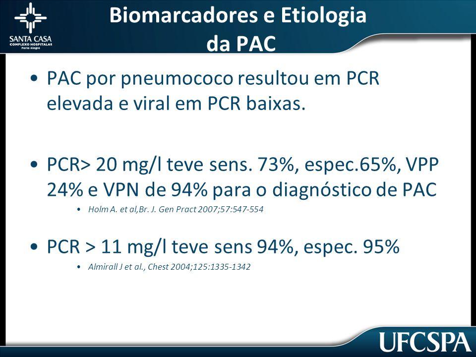 Biomarcadores e Etiologia da PAC PAC por pneumococo resultou em PCR elevada e viral em PCR baixas.