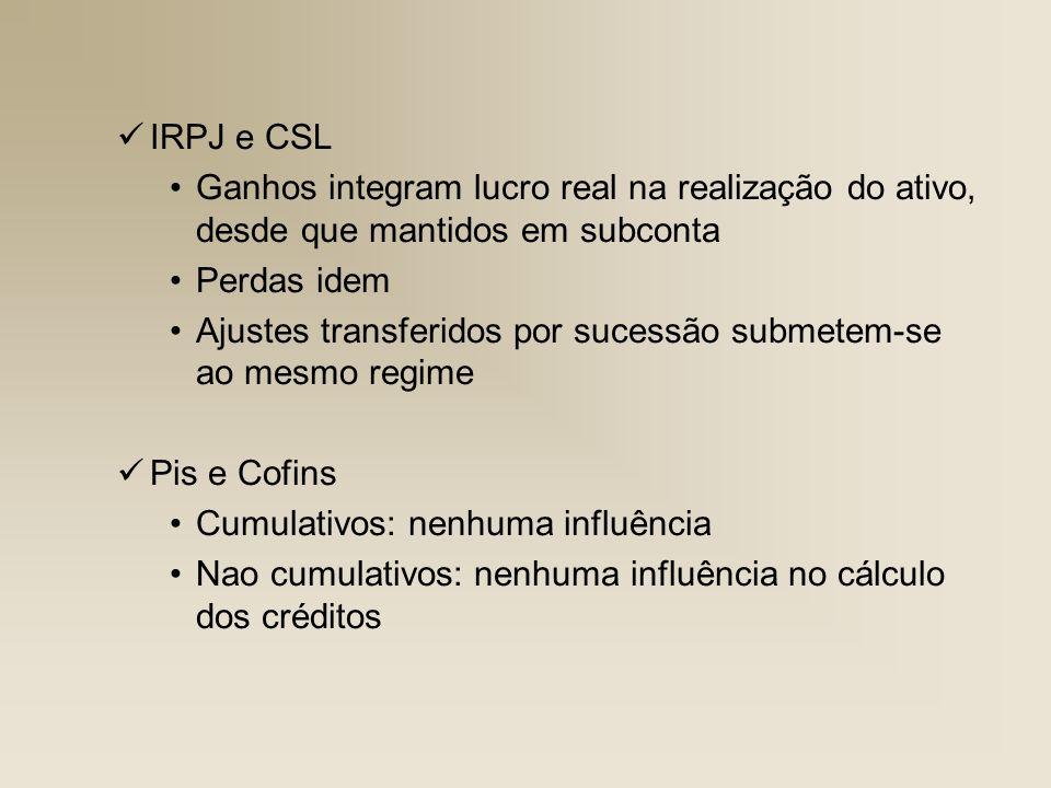 IRPJ e CSL Ganhos integram lucro real na realização do ativo, desde que mantidos em subconta Perdas idem Ajustes transferidos por sucessão submetem-se