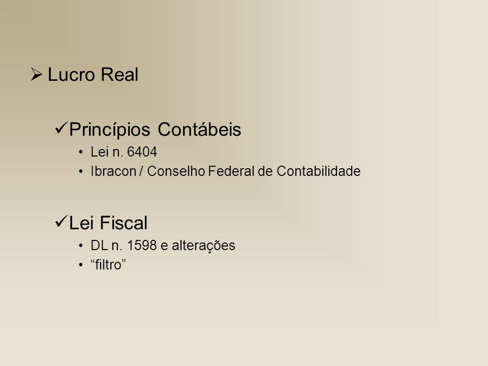 Lucro Real Princípios Contábeis Lei n. 6404 Ibracon / Conselho Federal de Contabilidade Lei Fiscal DL n. 1598 e alterações filtro