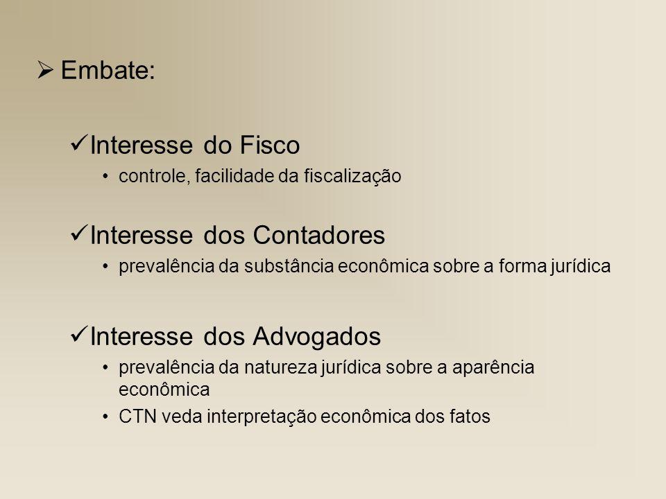Embate: Interesse do Fisco controle, facilidade da fiscalização Interesse dos Contadores prevalência da substância econômica sobre a forma jurídica In
