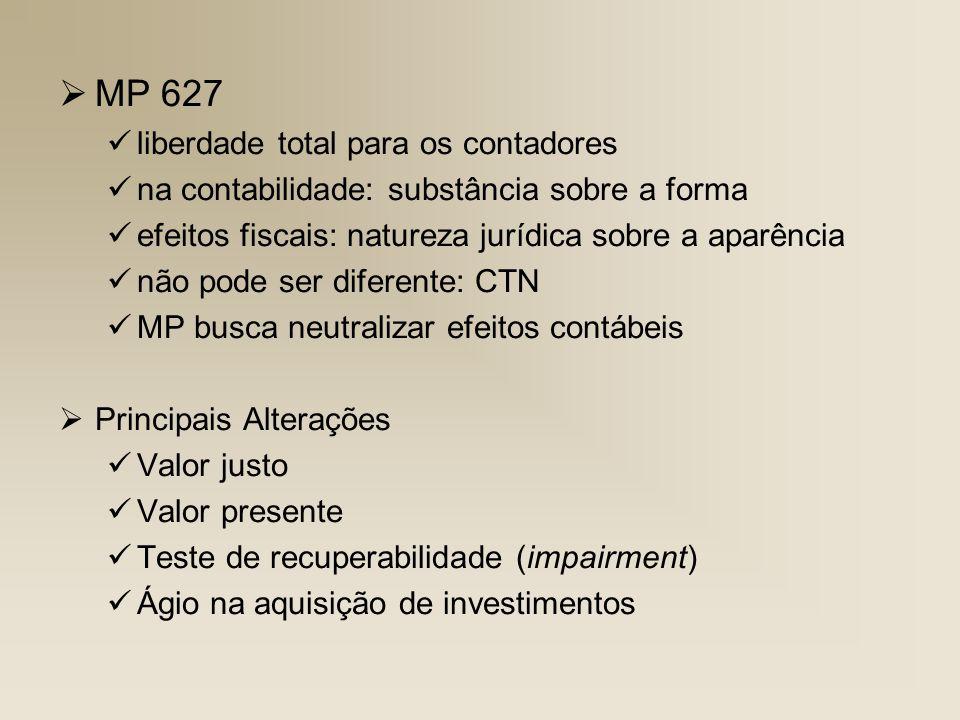 MP 627 liberdade total para os contadores na contabilidade: substância sobre a forma efeitos fiscais: natureza jurídica sobre a aparência não pode ser