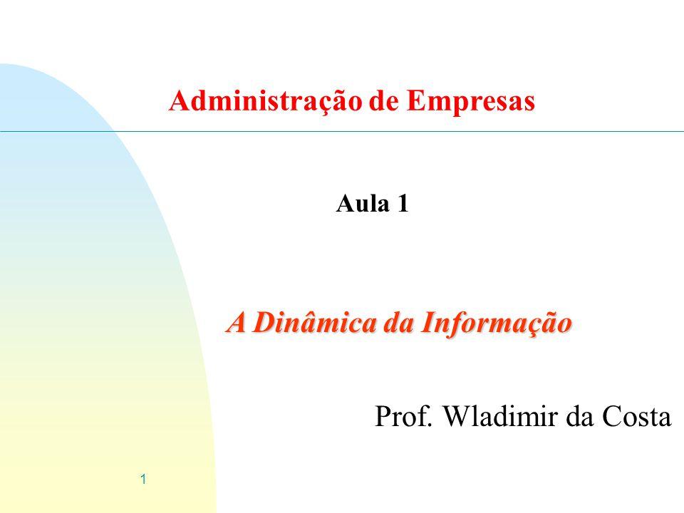 1 A Dinâmica da Informação Prof. Wladimir da Costa Aula 1 Administração de Empresas