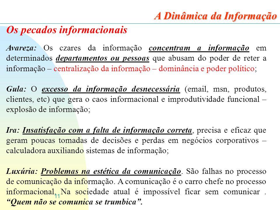 11 Os pecados informacionais Avareza: Os czares da informação concentram a informação em determinados departamentos ou pessoas que abusam do poder de