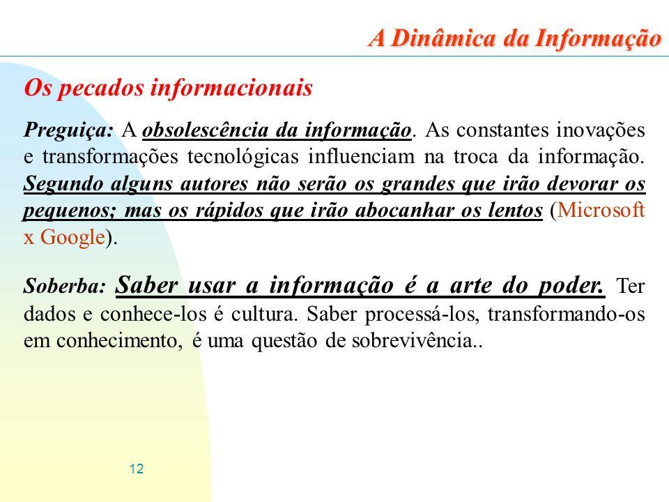 12 Os pecados informacionais Preguiça: A obsolescência da informação. As constantes inovações e transformações tecnológicas influenciam na troca da in