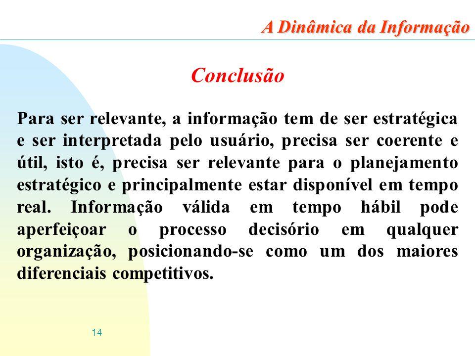 14 Conclusão Para ser relevante, a informação tem de ser estratégica e ser interpretada pelo usuário, precisa ser coerente e útil, isto é, precisa ser
