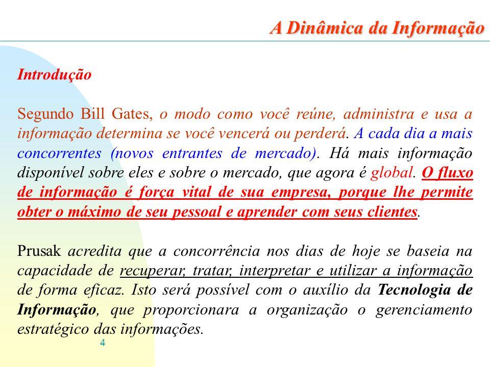4 Introdução Segundo Bill Gates, o modo como você reúne, administra e usa a informação determina se você vencerá ou perderá. A cada dia a mais concorr