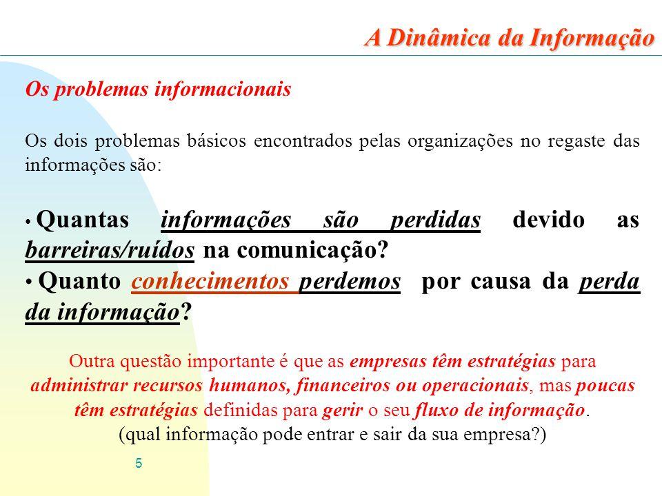 5 Os problemas informacionais Os dois problemas básicos encontrados pelas organizações no regaste das informações são: Quantas informações são perdida