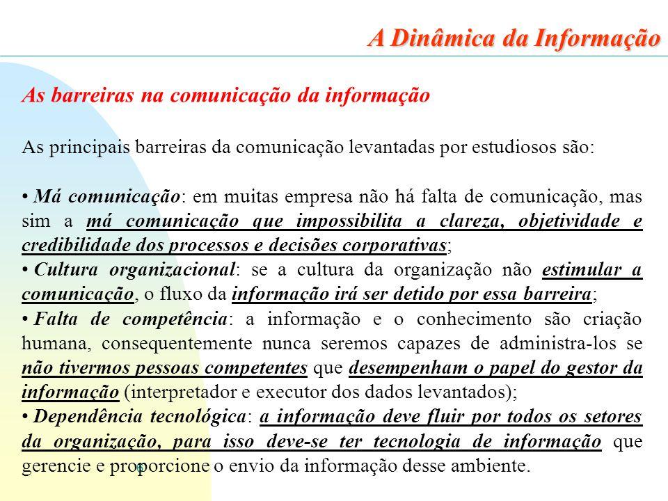 6 As barreiras na comunicação da informação As principais barreiras da comunicação levantadas por estudiosos são: Má comunicação: em muitas empresa nã