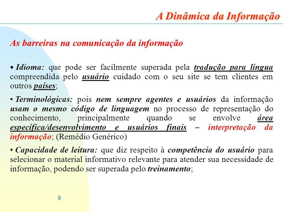 9 As barreiras na comunicação da informação Idioma: que pode ser facilmente superada pela tradução para língua compreendida pelo usuário cuidado com o