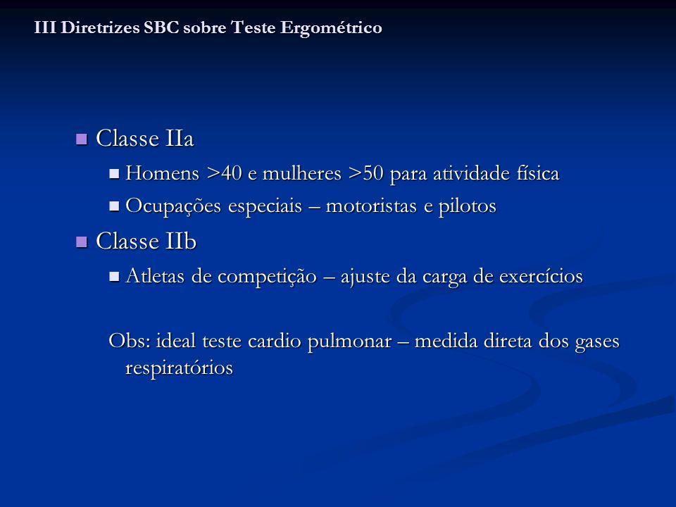 Classe IIa Classe IIa Homens >40 e mulheres >50 para atividade física Homens >40 e mulheres >50 para atividade física Ocupações especiais – motoristas