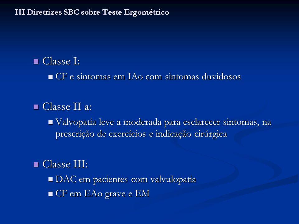 Classe I: Classe I: CF e sintomas em IAo com sintomas duvidosos CF e sintomas em IAo com sintomas duvidosos Classe II a: Classe II a: Valvopatia leve