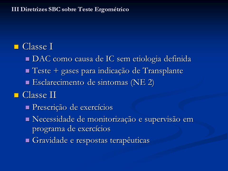 Classe I Classe I DAC como causa de IC sem etiologia definida DAC como causa de IC sem etiologia definida Teste + gases para indicação de Transplante