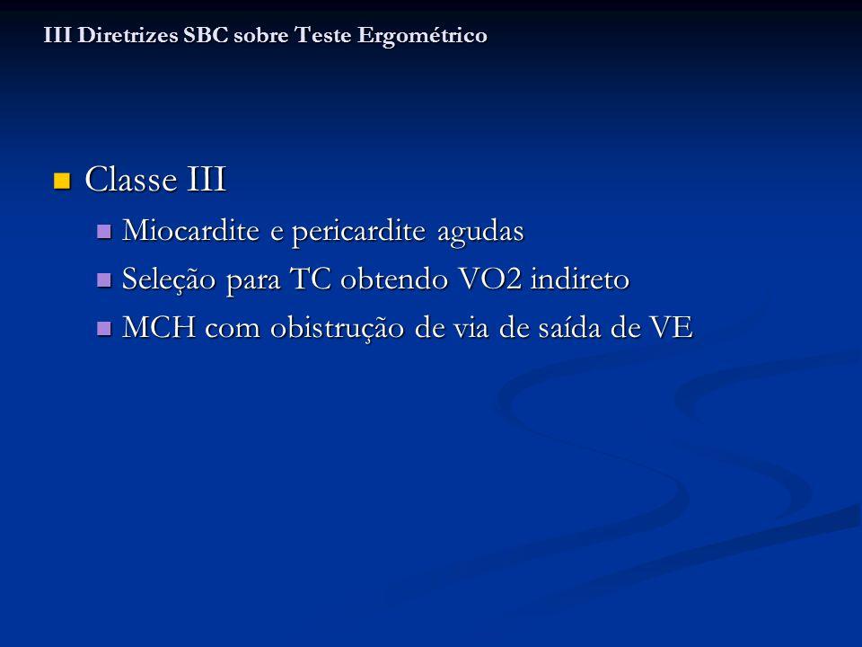 Classe III Classe III Miocardite e pericardite agudas Miocardite e pericardite agudas Seleção para TC obtendo VO2 indireto Seleção para TC obtendo VO2