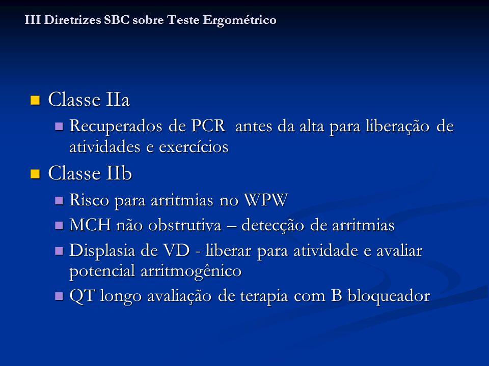 Classe IIa Classe IIa Recuperados de PCR antes da alta para liberação de atividades e exercícios Recuperados de PCR antes da alta para liberação de at