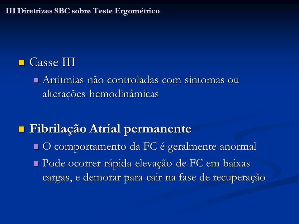 Casse III Casse III Arritmias não controladas com sintomas ou alterações hemodinâmicas Arritmias não controladas com sintomas ou alterações hemodinâmi