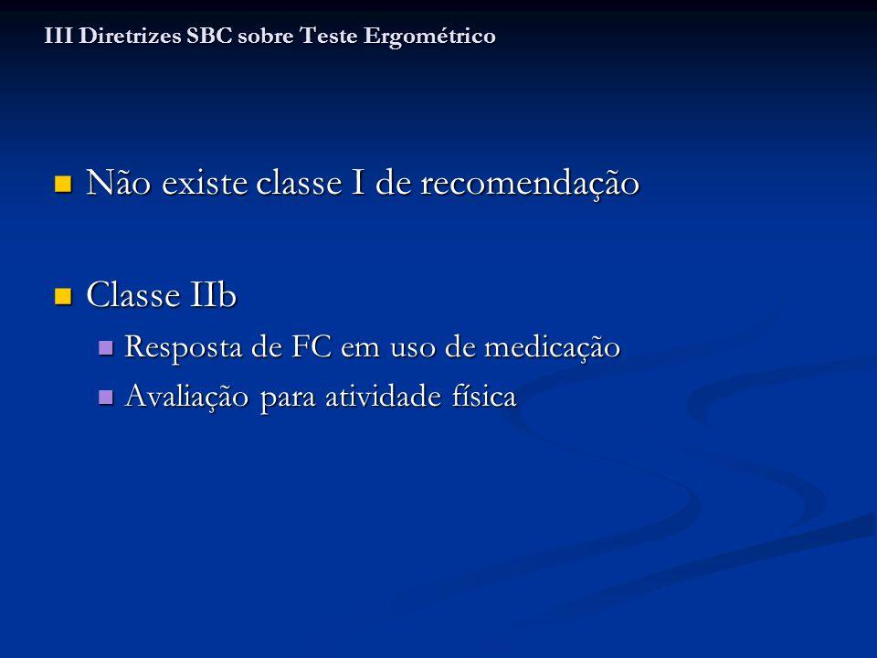 Não existe classe I de recomendação Não existe classe I de recomendação Classe IIb Classe IIb Resposta de FC em uso de medicação Resposta de FC em uso