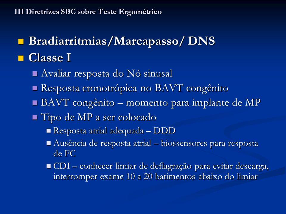 Bradiarritmias/Marcapasso/ DNS Bradiarritmias/Marcapasso/ DNS Classe I Classe I Avaliar resposta do Nó sinusal Avaliar resposta do Nó sinusal Resposta