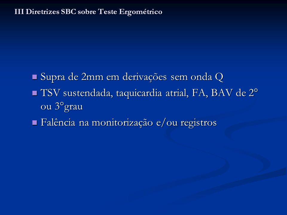 Supra de 2mm em derivações sem onda Q Supra de 2mm em derivações sem onda Q TSV sustendada, taquicardia atrial, FA, BAV de 2° ou 3°grau TSV sustendada