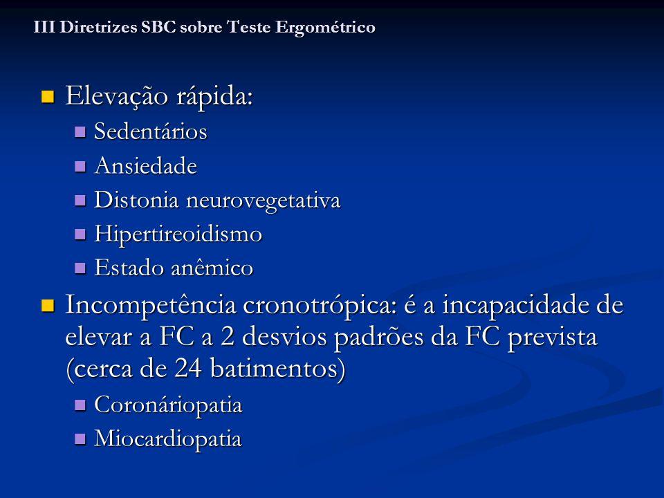 Elevação rápida: Elevação rápida: Sedentários Sedentários Ansiedade Ansiedade Distonia neurovegetativa Distonia neurovegetativa Hipertireoidismo Hiper