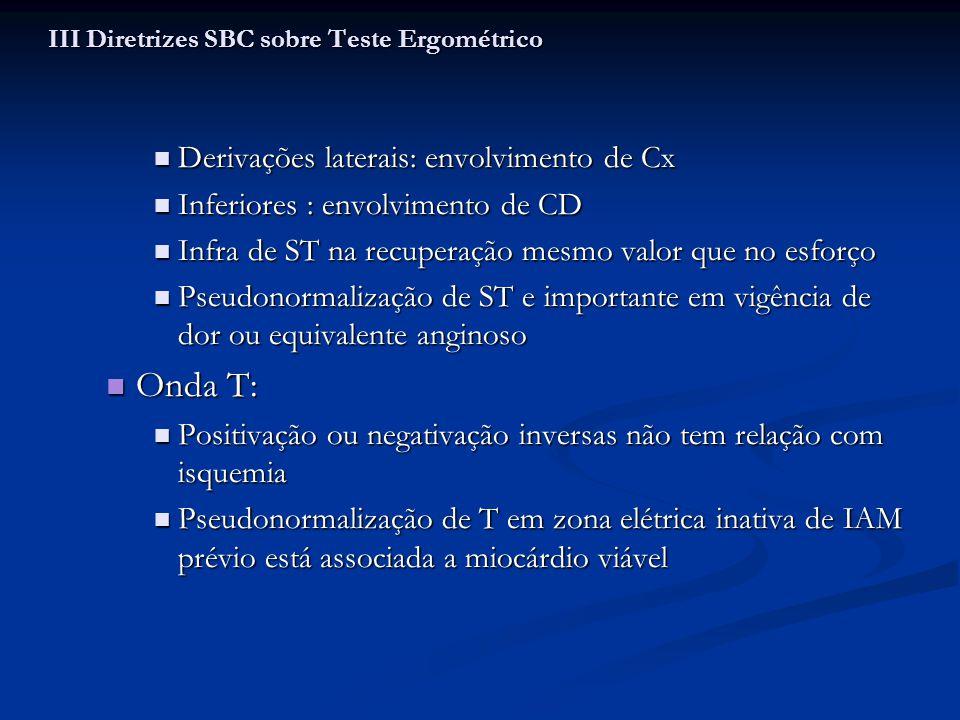 Derivações laterais: envolvimento de Cx Derivações laterais: envolvimento de Cx Inferiores : envolvimento de CD Inferiores : envolvimento de CD Infra
