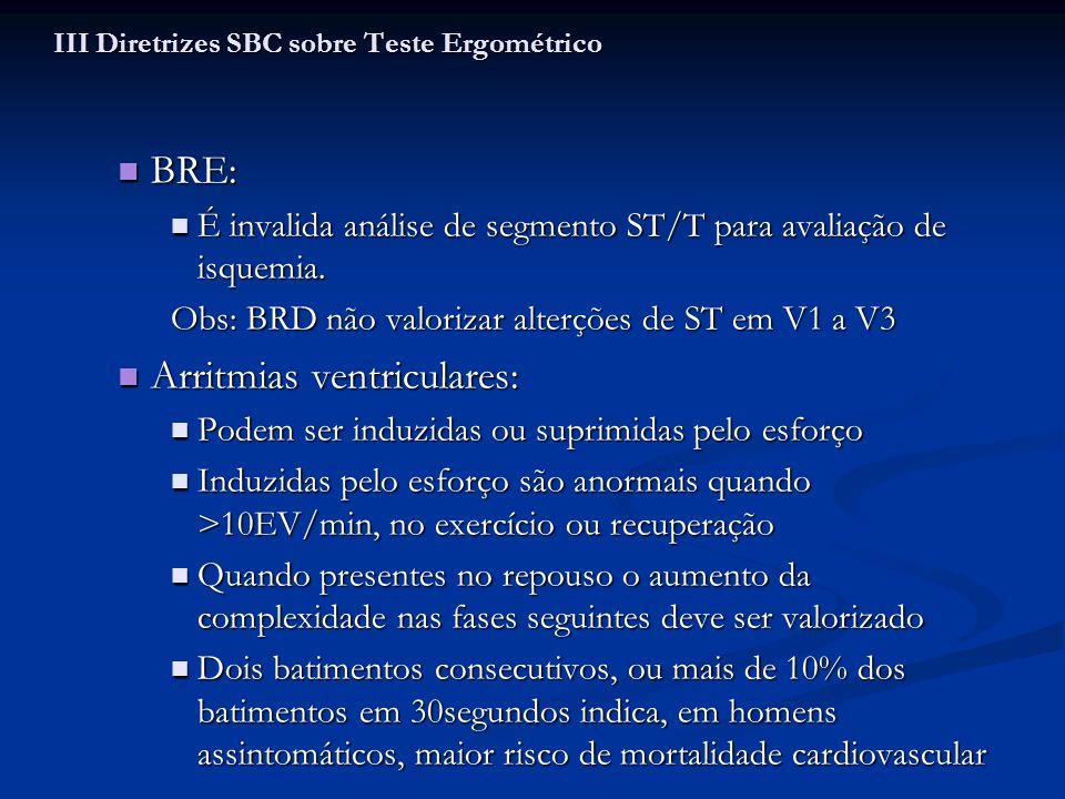 BRE: BRE: É invalida análise de segmento ST/T para avaliação de isquemia. É invalida análise de segmento ST/T para avaliação de isquemia. Obs: BRD não