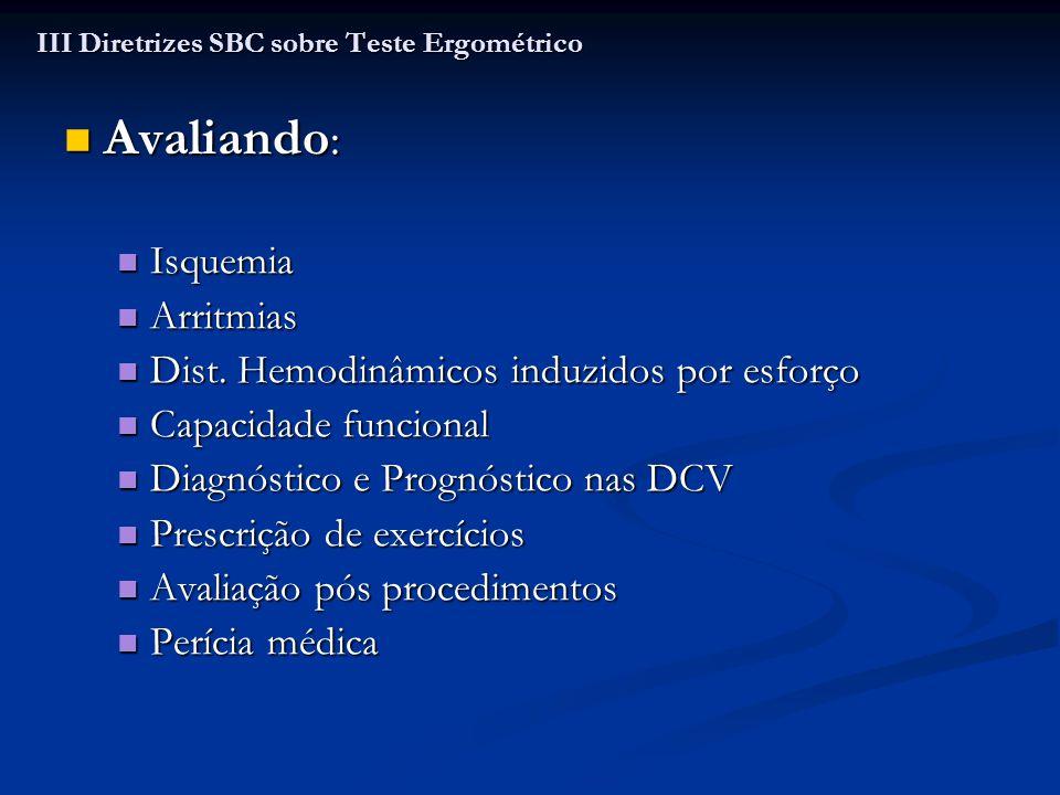 Classe I: Classe I: CF e sintomas em IAo com sintomas duvidosos CF e sintomas em IAo com sintomas duvidosos Classe II a: Classe II a: Valvopatia leve a moderada para esclarecer sintomas, na prescrição de exercícios e indicação cirúrgica Valvopatia leve a moderada para esclarecer sintomas, na prescrição de exercícios e indicação cirúrgica Classe III: Classe III: DAC em pacientes com valvulopatia DAC em pacientes com valvulopatia CF em EAo grave e EM CF em EAo grave e EM III Diretrizes SBC sobre Teste Ergométrico