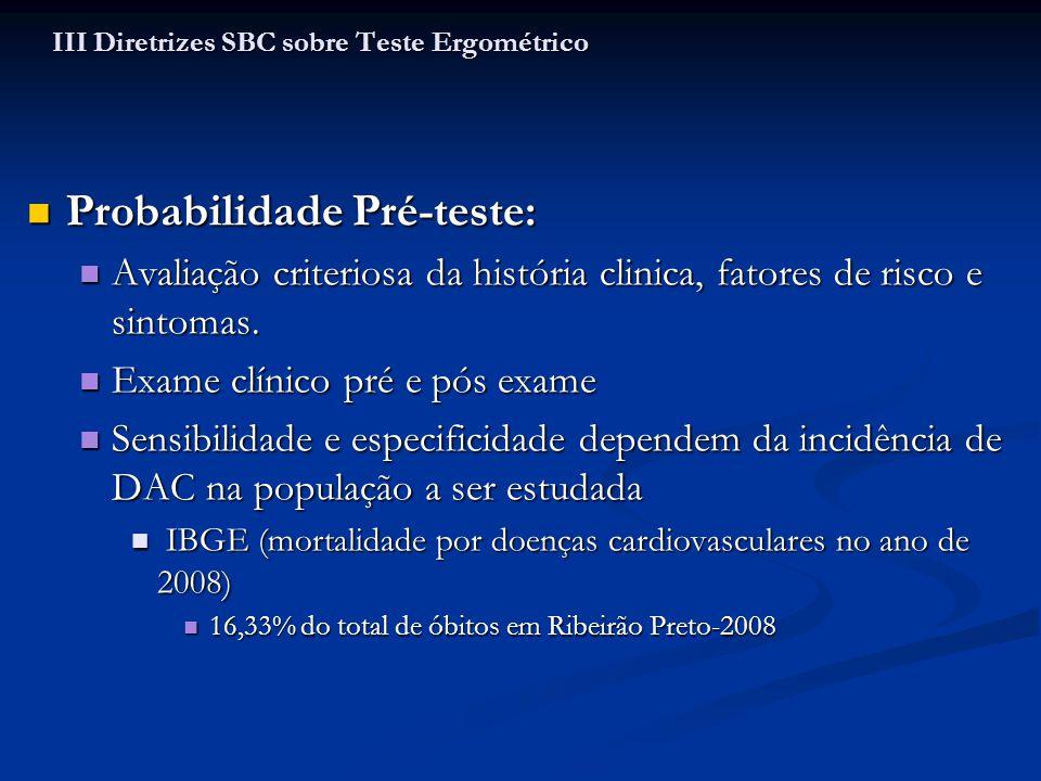 Probabilidade Pré-teste: Probabilidade Pré-teste: Avaliação criteriosa da história clinica, fatores de risco e sintomas. Avaliação criteriosa da histó